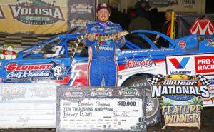Brandon Sheppard in Victory Lane at DIRTcar Nationals