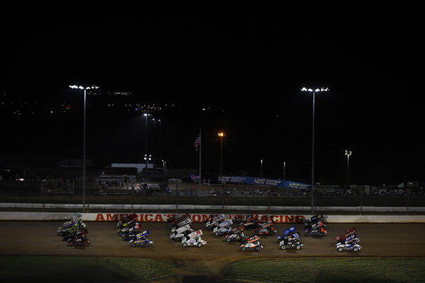 4 wide salute during the Patriot Nationals at The Dirt Track at Charlotte in Concord, North Carolina.